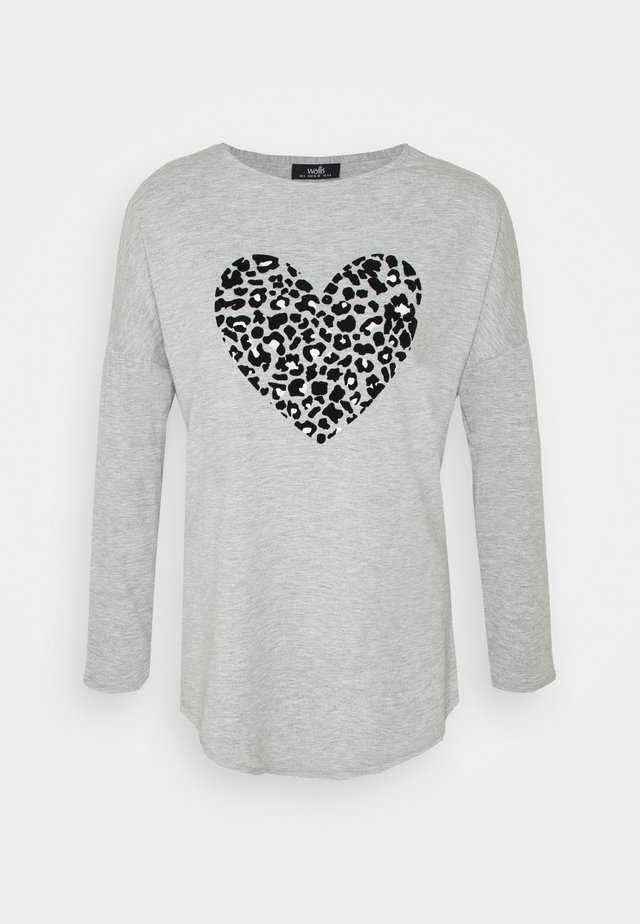FLOCK HEART LONG SLEEVE TEE - Camiseta de manga larga - grey