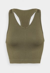 Cotton On Body - LIFESTYLE SEAMLESS HALTER TANK - Top - deep moss chevron - 0