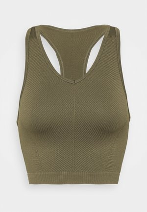 LIFESTYLE SEAMLESS HALTER TANK - Top - deep moss chevron