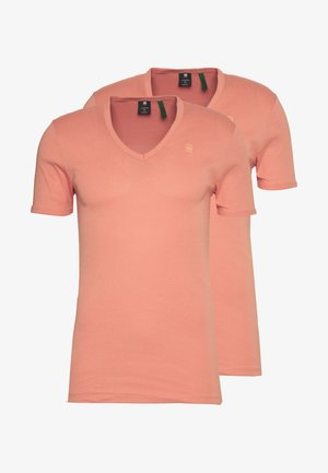BASE V-NECK T S/S 2-PACK - T-shirt basic - apricot