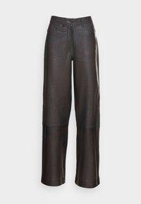 PANTS WIDE LEG - Leather trousers - deep walnut