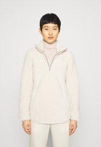 Abercrombie & Fitch - TRIM SHERPA ZIP - Fleece jumper - cream - 0