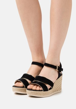 PONZA  - Platform sandals - black/light gold