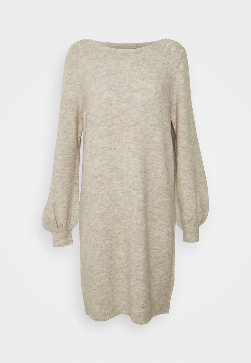 Vero Moda - VMLEFILE BALLOON BOATNECK DRESS - Strikket kjole - birch melange