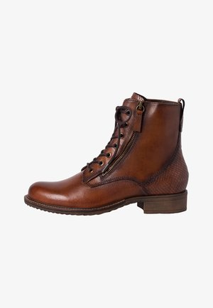 Lace-up ankle boots - cognac/snake