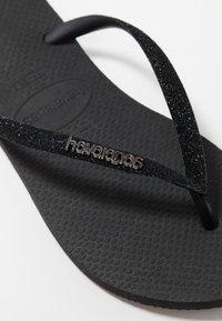 Havaianas - SLIM GLITTER - T-bar sandals - black - 2