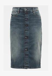 G-Star - NOXER NAVY PENCIL BUTTON - Denim skirt - worn in smokey night - 1