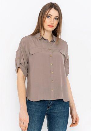 Button-down blouse - l.brown