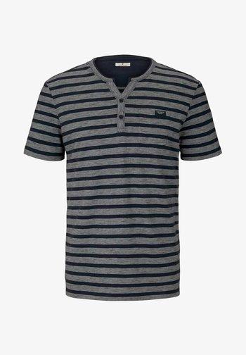 Print T-shirt - blue white stripe