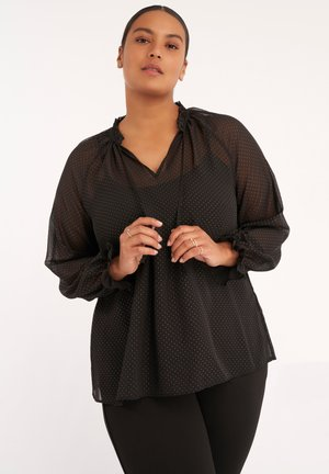 WITH STAND-UP COLLAR - Blouse - black