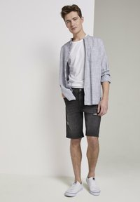 TOM TAILOR DENIM - Denim shorts - used dark stone black denim - 0