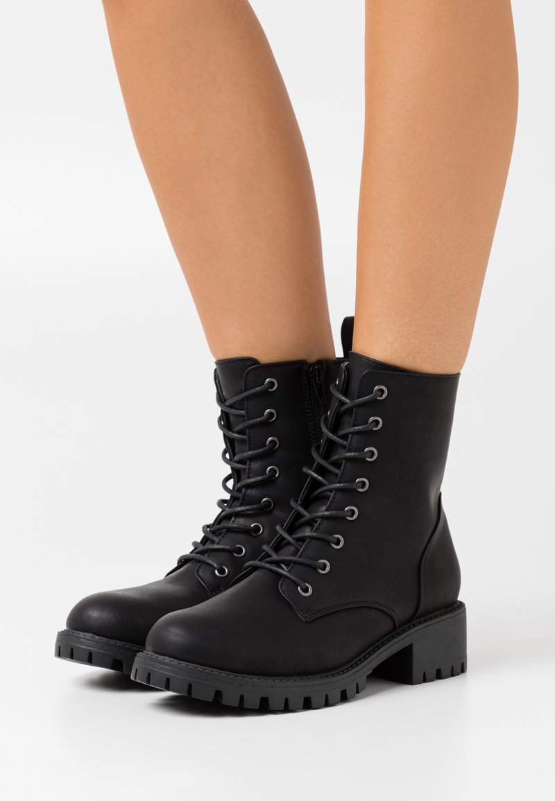 Rubi Shoes by Cotton On Wide Fit - WIDE FIT HARLOW LACE UP BOOT - Stivaletti stringati - black