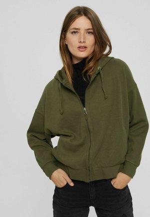 REGULAR FIT - Zip-up sweatshirt - dark khaki