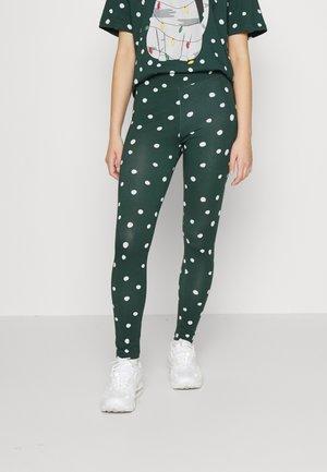 Leggings - Trousers - green snowflakes