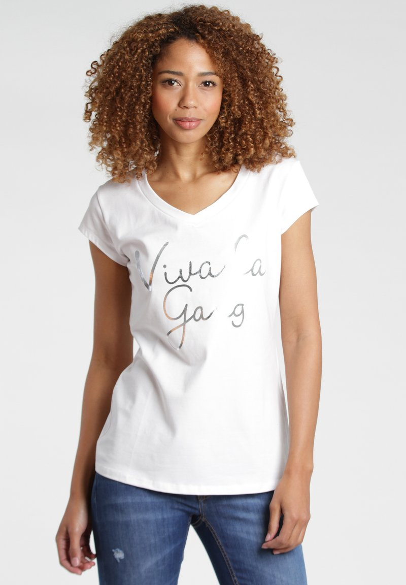 Gang - BASE VIVA - Print T-shirt - white