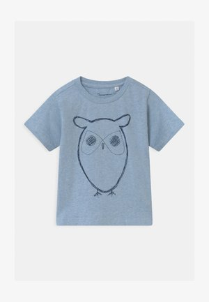 FLAX OWL - Print T-shirt - mottled light blue