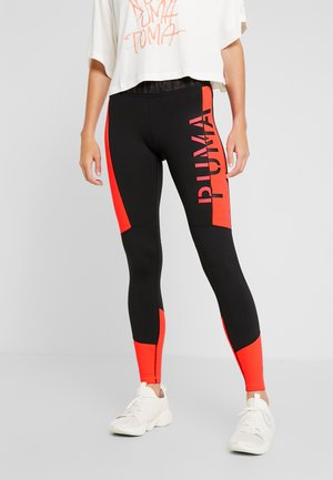 LOGO 7/8  - Leggings - puma black/pink alert