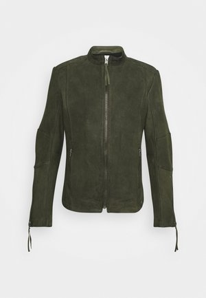 NIAM BUFFED - Leather jacket - military green