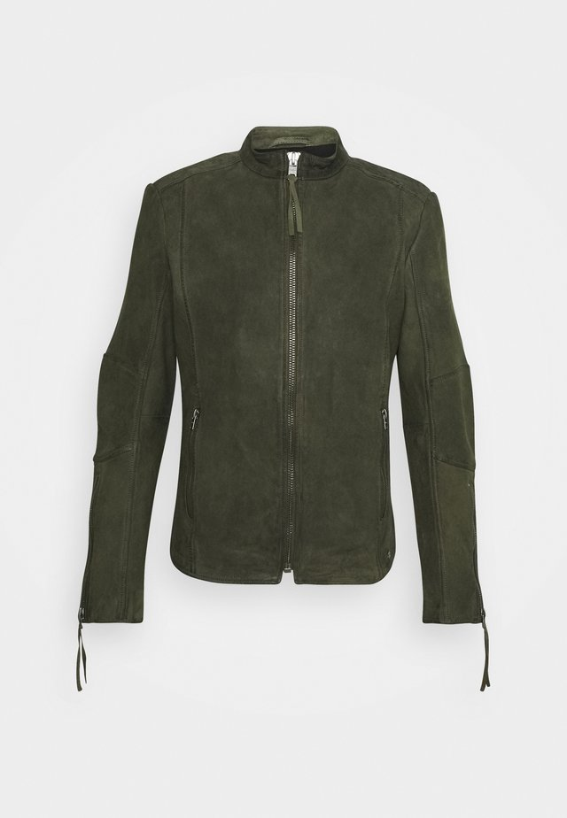 NIAM BUFFED - Chaqueta de cuero - military green