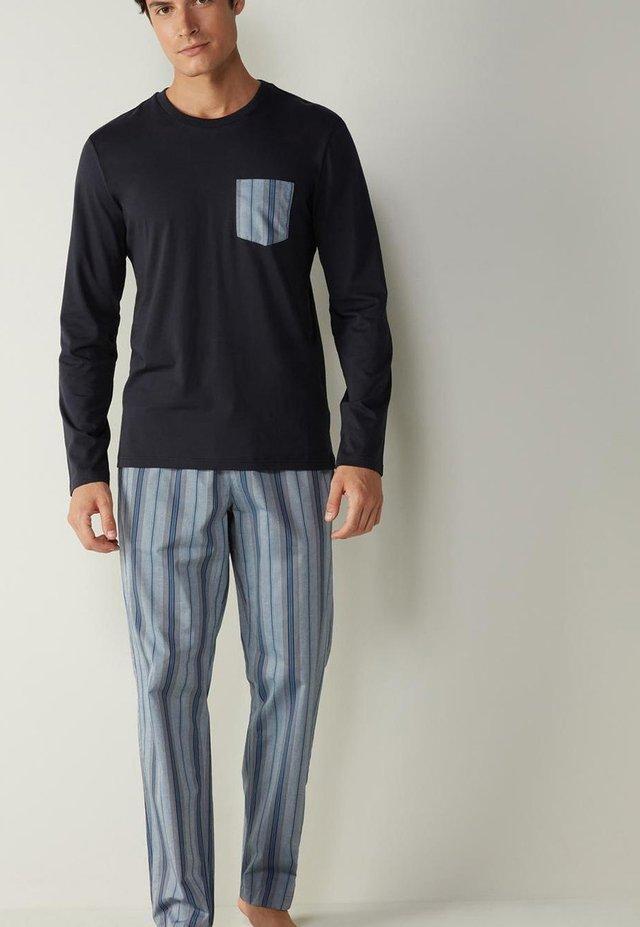 SET - Pyjama - blau i  midnight blue/denim blue stripes