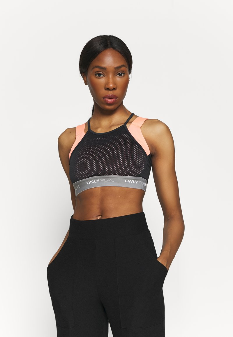 ONLY Play - ONPMALIA SPORTS BRA - Medium support sports bra - neon orange/blue graphite