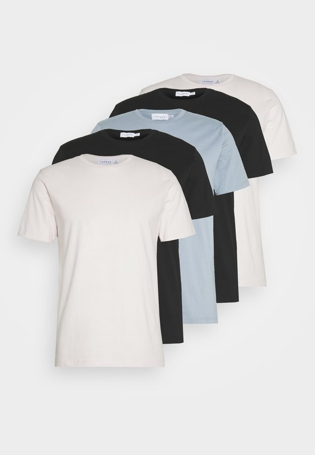5 PACK - T-shirt - bas - black/blue/off-white