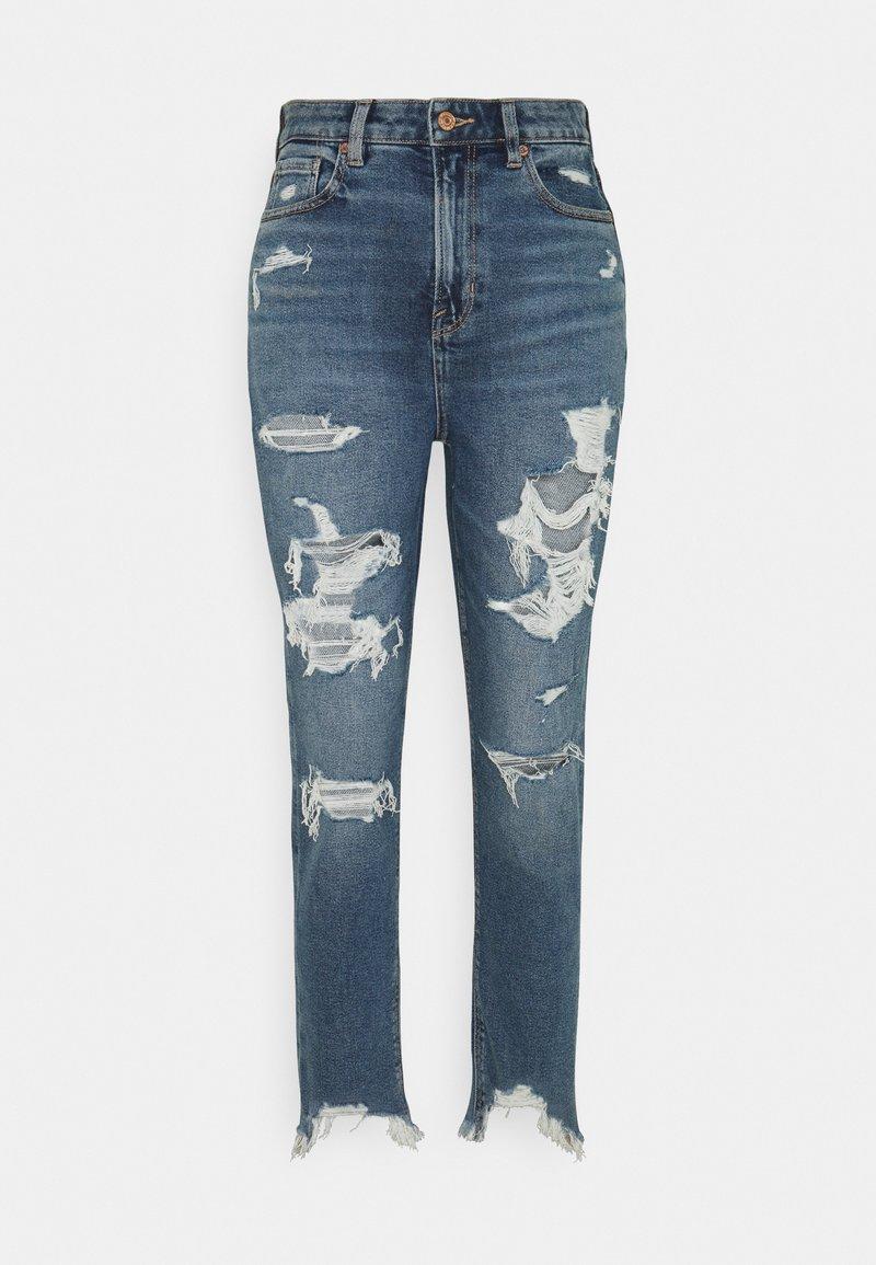 American Eagle - HIGHEST RISE MOM  - Slim fit jeans - destroy your blues