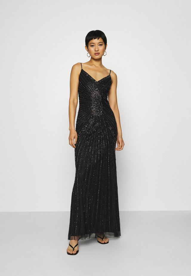 BEADED SPAGHETTI STRAP GOWN - Robe de cocktail - black