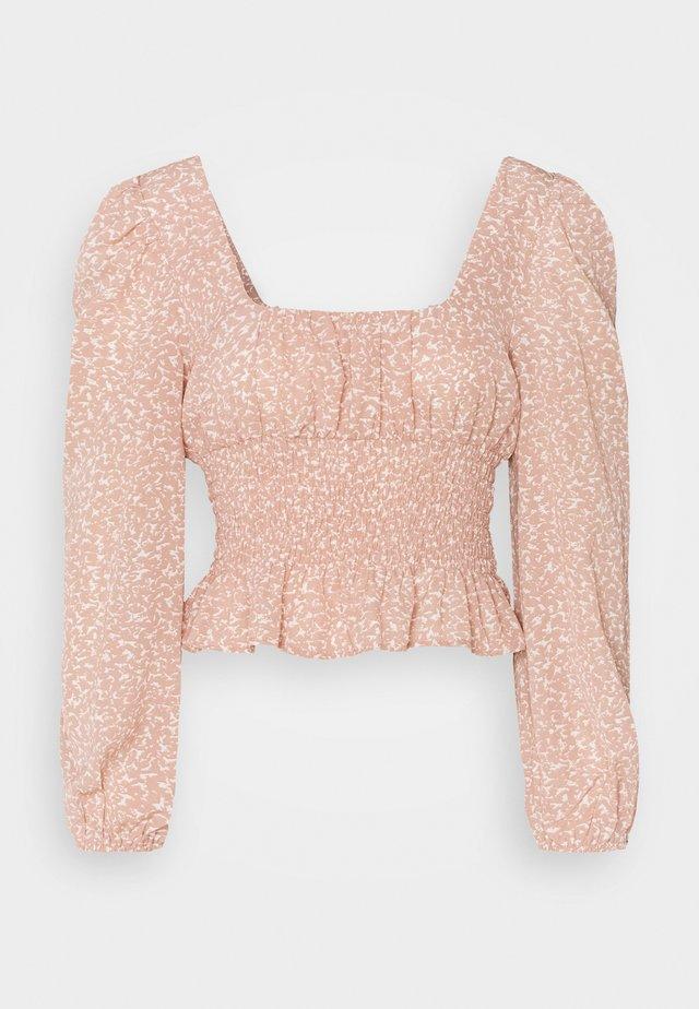 GATHERED WAIST PUFF BLOUSE - Blouse - pink