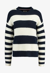 Tommy Jeans - BOLD STRIPE CREW - Pullover - snow white / black iris - 3