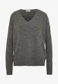 JDY - JDYTEA TREATS V-NECK - Sweter - dark grey melange - 3