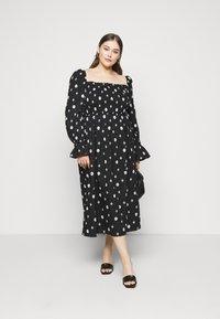 Never Fully Dressed - CROSS EMBROIDERED MIDI - Denní šaty - black - 1