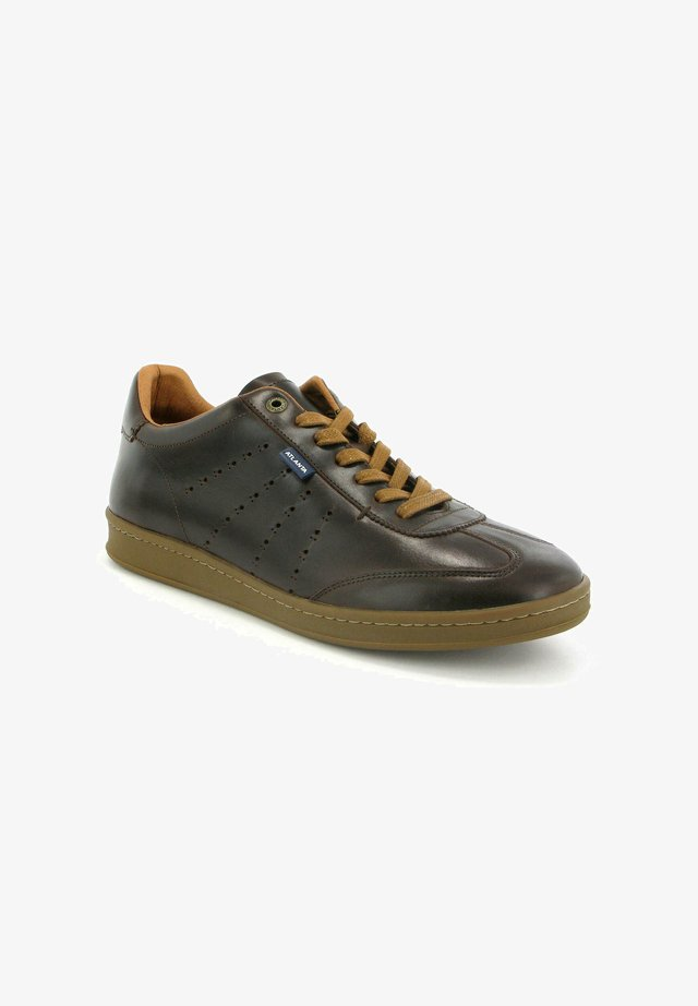 T-SNEAKER IN PULL UP LEATHER - Sneakers basse - darkbrown