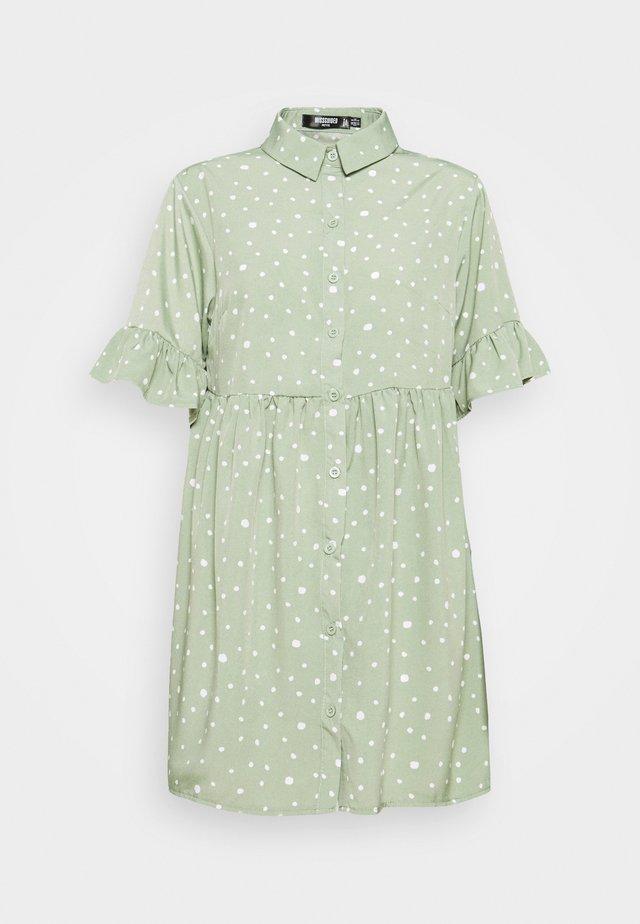 FRILL CUFF SMOCK DRESS - Shirt dress - sage