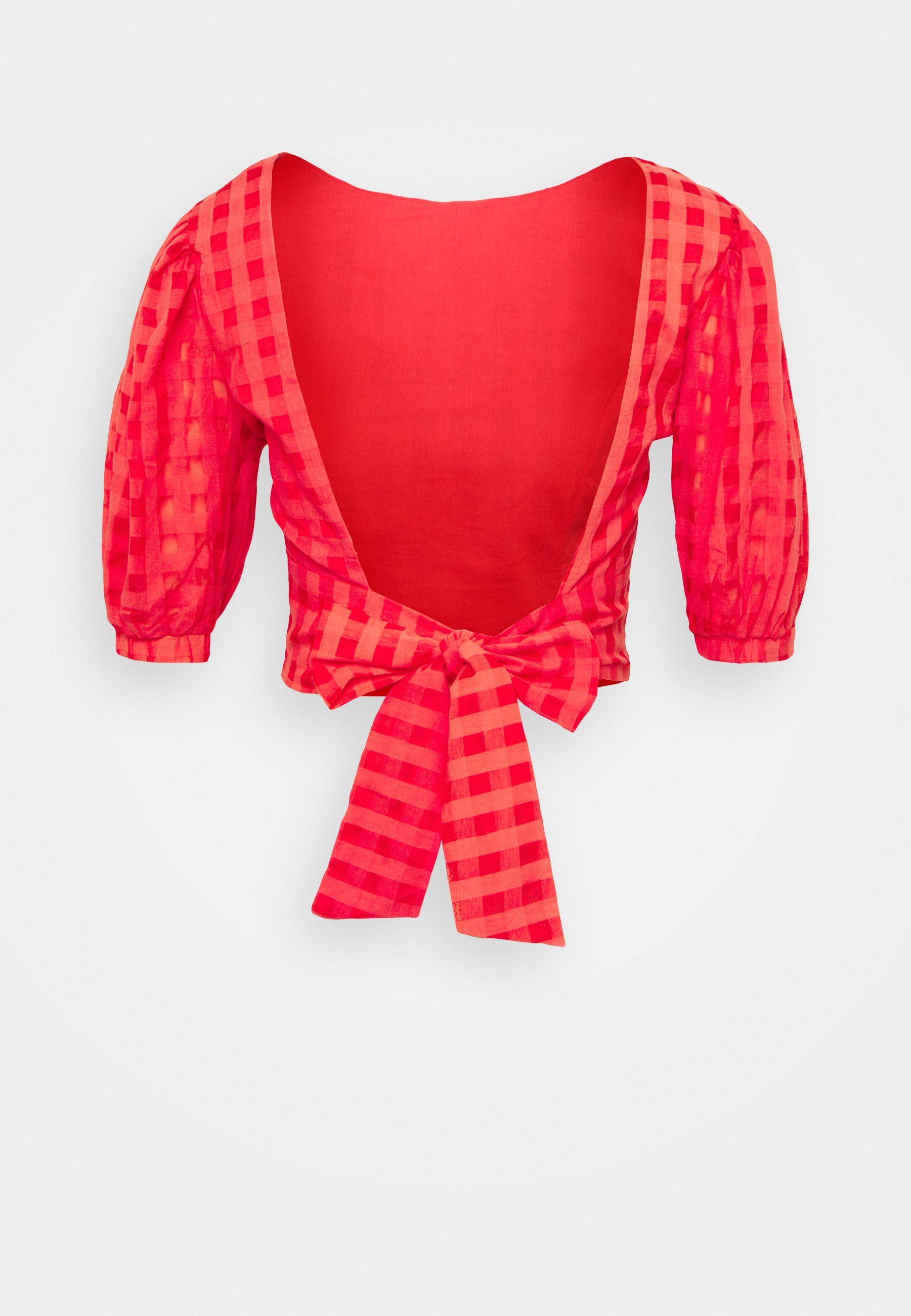 Donna PUFF SLEEVE CROP WITH FRONT TIE - T-shirt con stampa - red