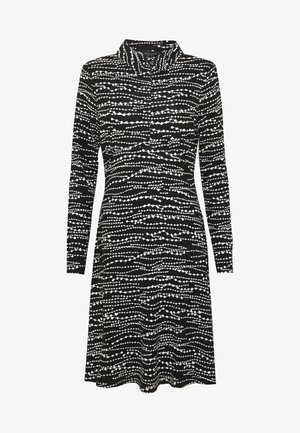 BEAD PRINT SHIRT DRESS - Jerseykjoler - black