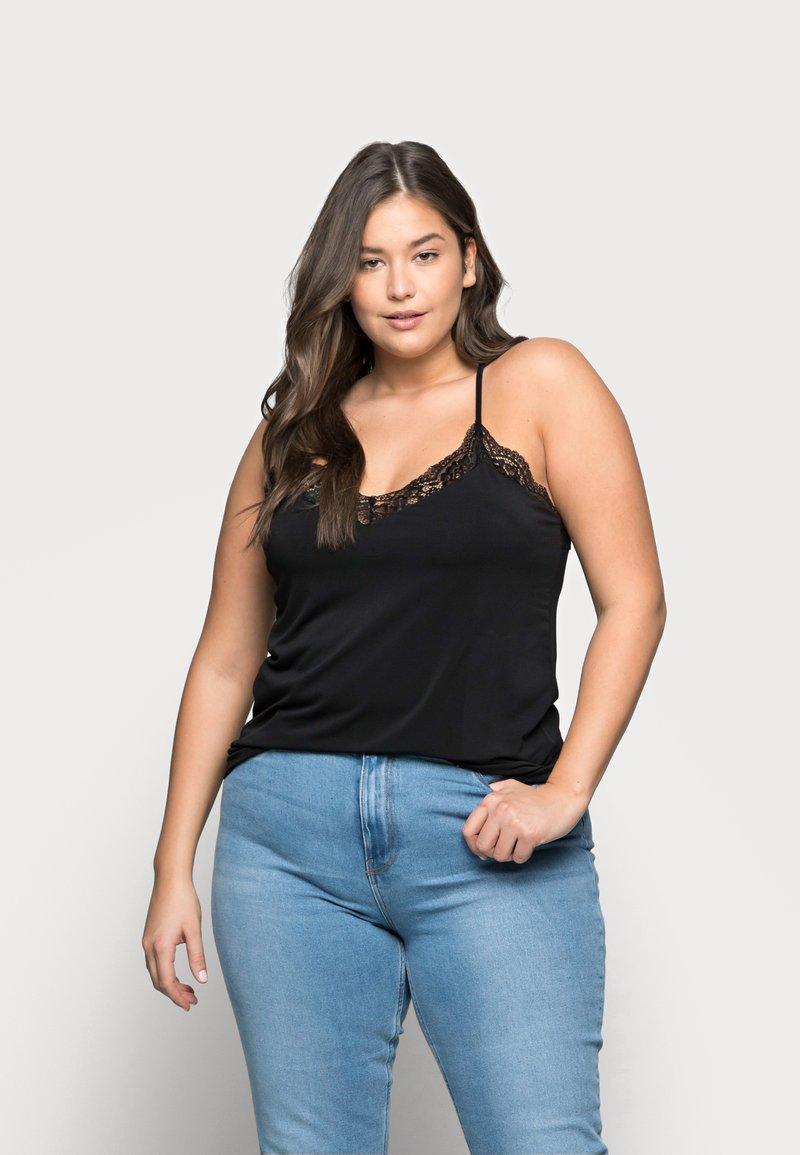 Vero Moda Curve - VMANA LACE TOP CURVE - Print T-shirt - black