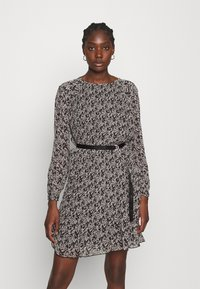 Calvin Klein - PLISSE DRESS - Day dress - black white mini floral print - 0