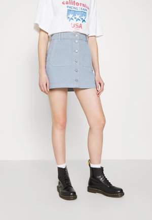 ALINE BUTTON FRONT - Mini skirt - icy blue