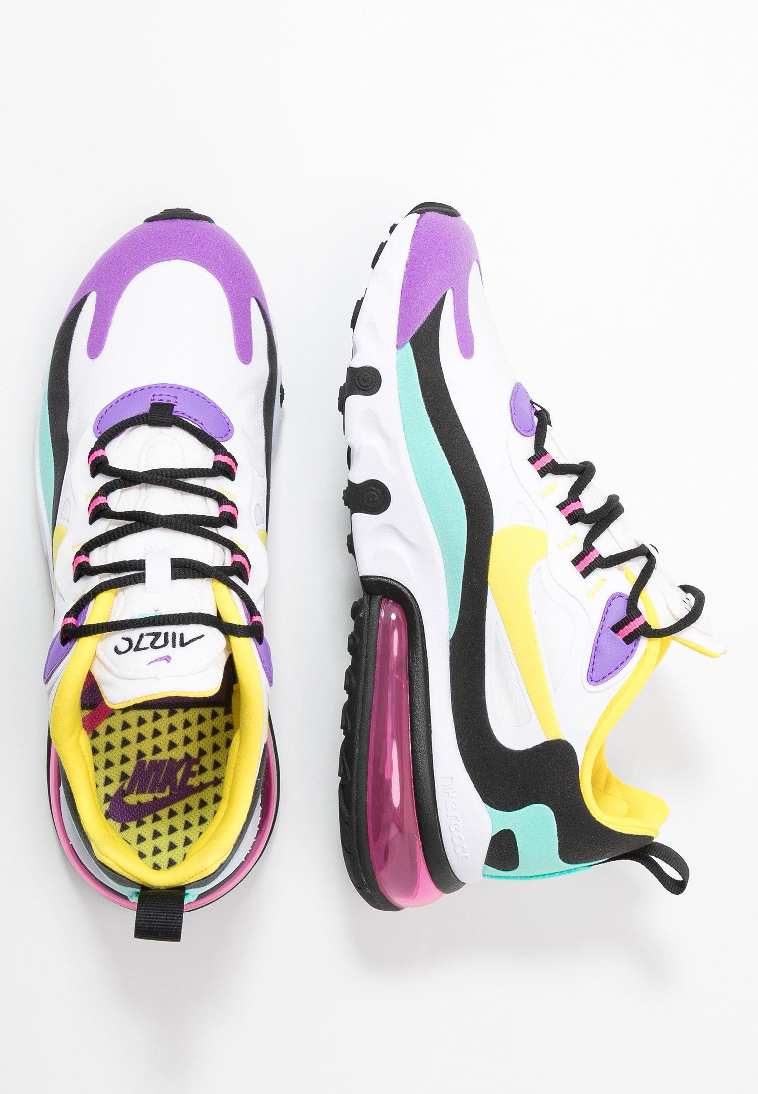 AIR MAX 270 REACT - Baskets basses - white/dynamic yellow/black/bright  violet/aurora green/pink blast