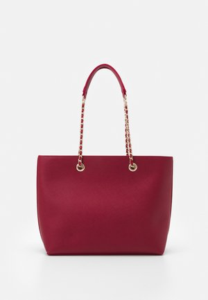 CHAIN HANDLE - Shoppingveske - dark red/gold