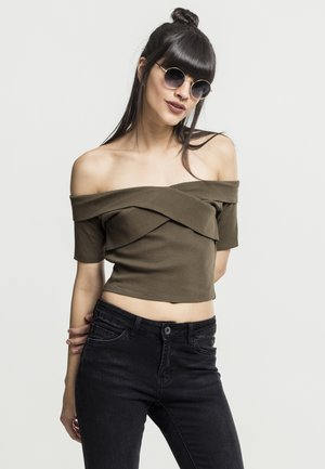 LADIES OFF SHOULDER CROSS - Basic T-shirt - olive