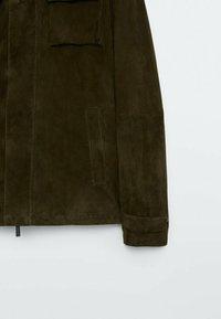 Massimo Dutti - Leather jacket - khaki - 6
