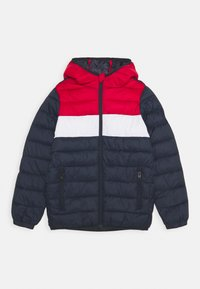 Jack & Jones Junior - JJEMAGIC PUFFER HOOD - Kurtka zimowa - navy blazer/tango red - 0