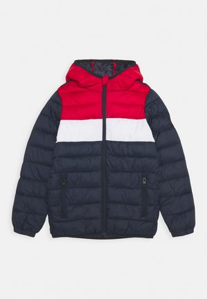 JJEMAGIC PUFFER HOOD - Winter jacket - navy blazer/tango red