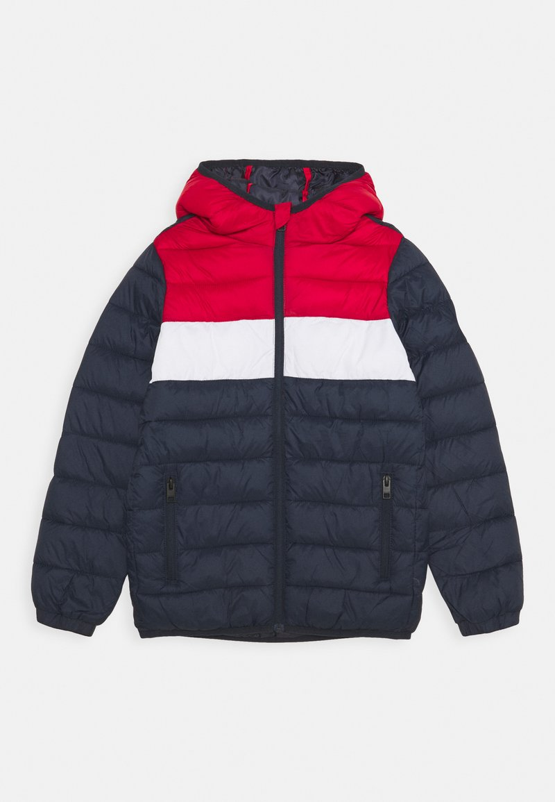 Jack & Jones Junior - JJEMAGIC PUFFER HOOD - Winterjas - navy blazer/tango red
