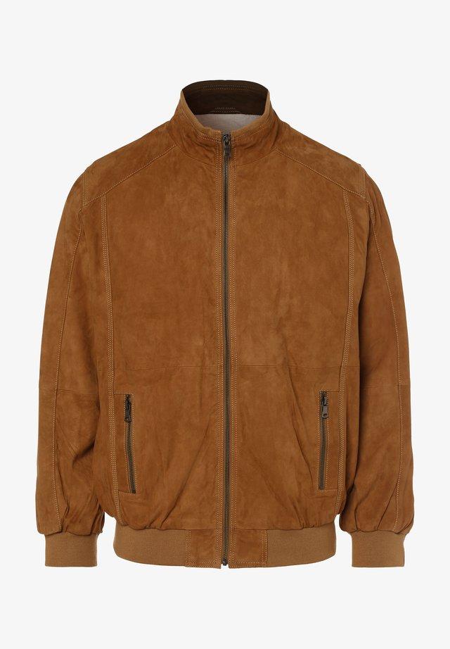 OSCAR - Leather jacket - sand