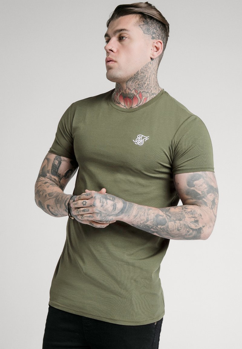 SIKSILK - SHORT SLEEVE GYM - Basic T-shirt - khaki