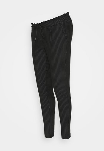 OLMPOPTRASH CLASSIC PINSTRIPE FRILL - Kalhoty - black