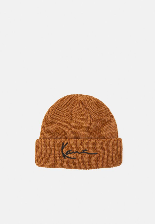 SIGNATURE FISHERMAN BEANIE UNISEX - Čepice - brown